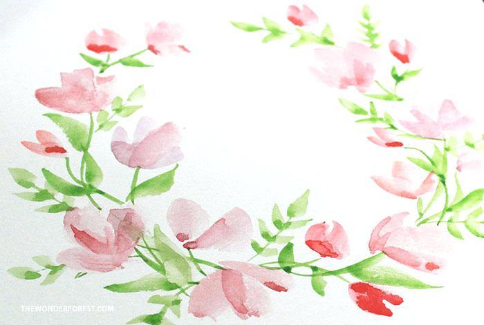 floral wreath watercolor wate