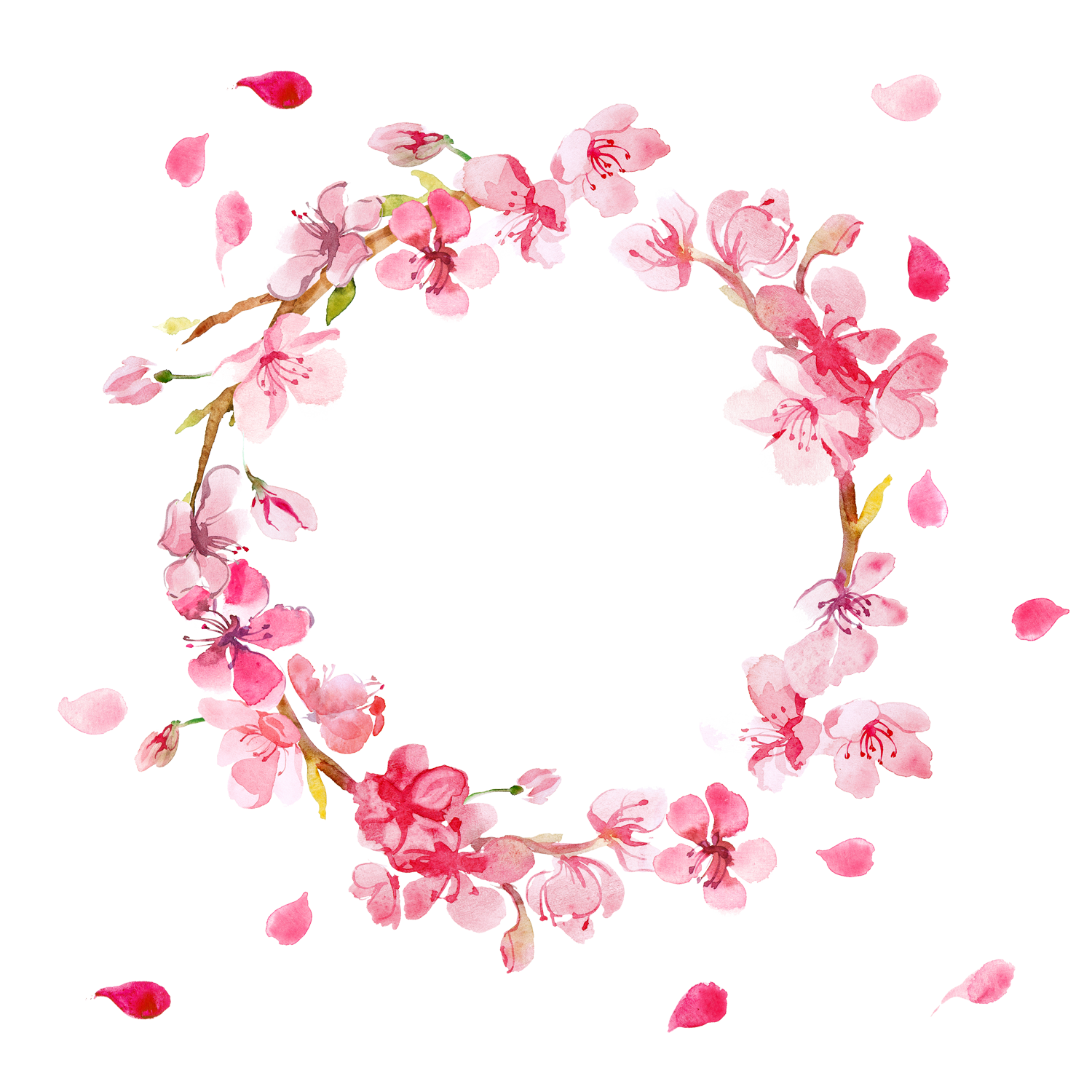 Free Pink Flowers Wreath PNG