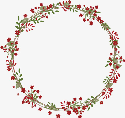Red flowers garland, Red, Floral, Wreath PNG and Vector - Flower Wreath PNG HD