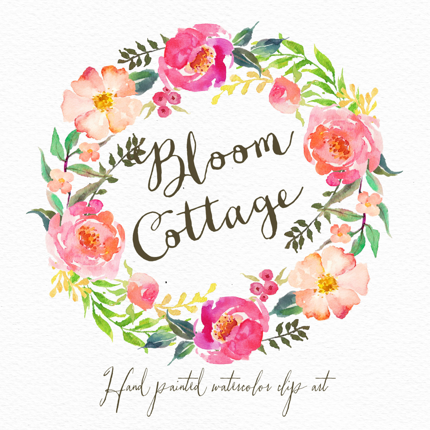 Watercolor flower wreath-Bloom cottage /Individual PNG files / Hand Painted - Flower Wreath PNG HD