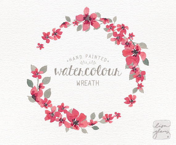 Watercolor wreath: 1 PNG floral wreath clipart / Wedding invitation clip  art / commercial use / simple pink small flowers / CM0063i - Flower Wreath PNG HD