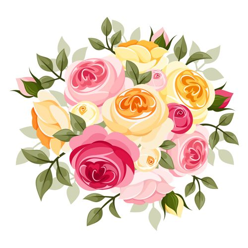 Elegant flowers bouquet vector 04 - Flowers Vectors PNG