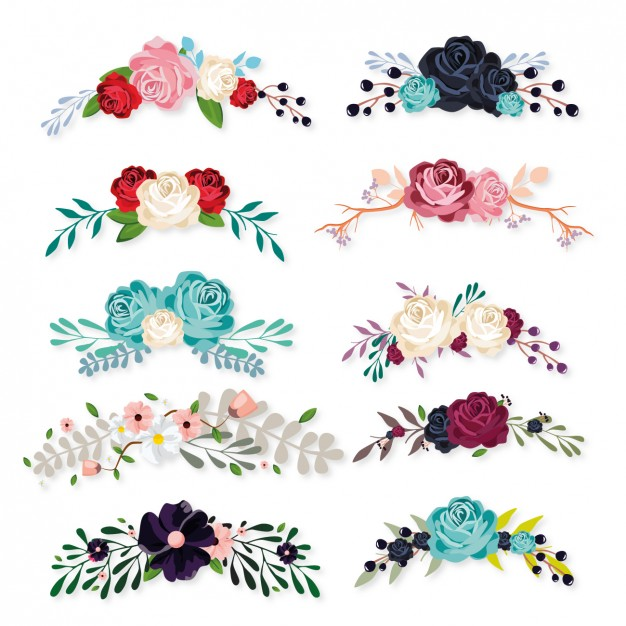 Floral ornaments collection - Flowers Vectors PNG