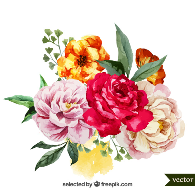 Watercolor bouquet of flowers - Flowers Vectors PNG