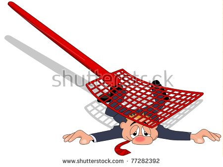 A businessman flattened by fly swatter - Fly Swatter Clip Art