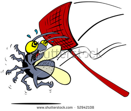 Cartoon bug about to be squashed by a flyswatter - Fly Swatter Clip Art