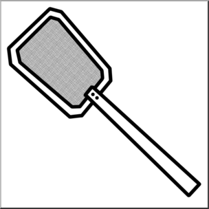 Clip Art: Fly Swatter (coloring page) I abcteach pluspng.com - preview 1 - Fly Swatter Clip Art