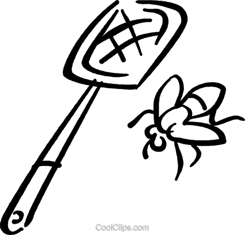 Fly swatter and fly Royalty Free Vector Clip Art illustration - Fly Swatter Clip Art