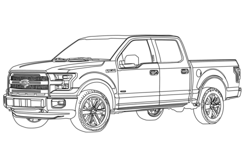 Ford F150 Pickup Truck coloring page - Ford Pickup Truck PNG Black And White