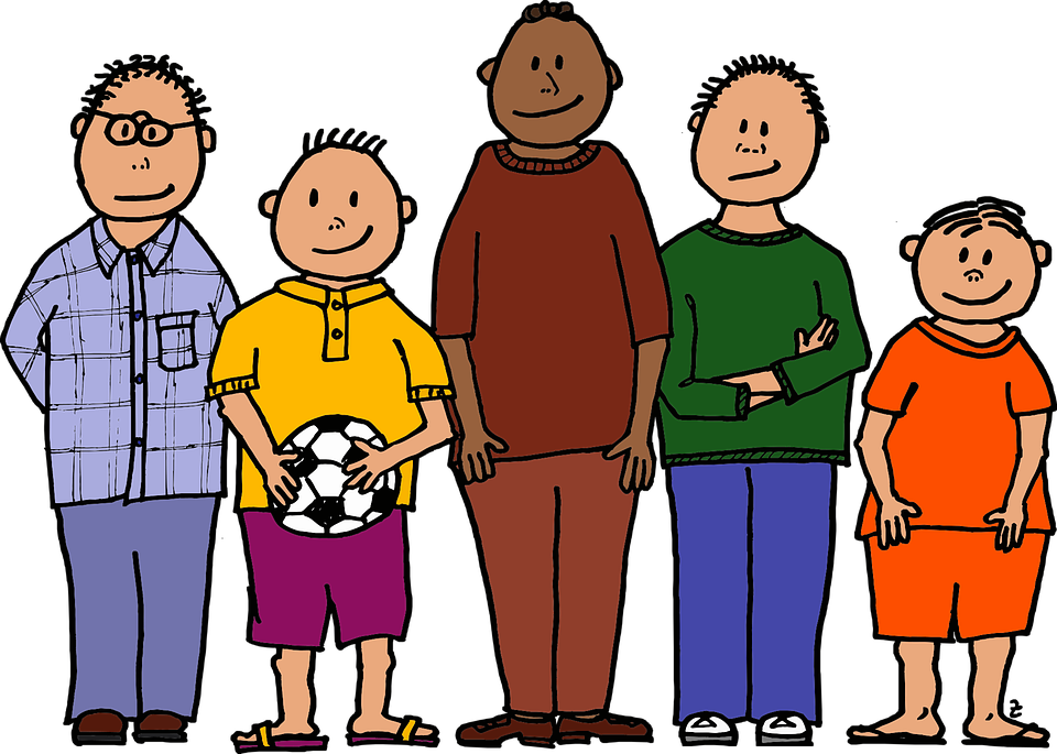 Ball Colour Five Young Boys Four Different Sizes - Four Boys PNG