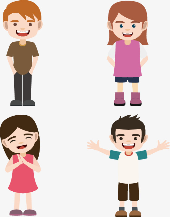 Children Image Combination, Four Children, Two Girls, Two Boys PNG And  Vector - Four Boys PNG