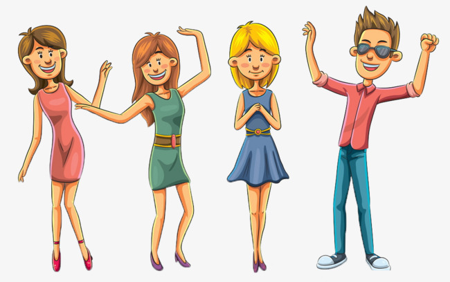 Four Boys And Girls Cartoon Clip 3, Cartoon, Boy, Girl PNG Image And - Four Boys PNG