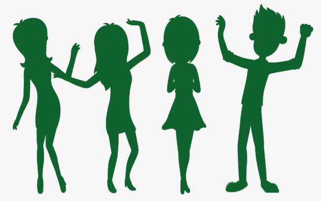 Four Boys And Girls Green Silhouette Cartoon Creative, Boys And Girls,  Decoration, Green - Four Boys PNG