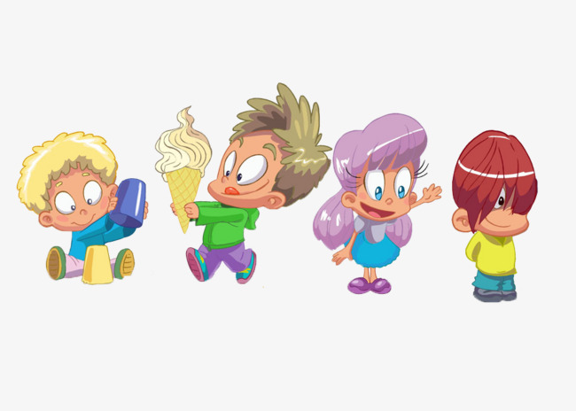 Four Different Abstract Cartoon Boys And Girls, Cartoon, Abstract, Boy PNG  Image And - Four Boys PNG