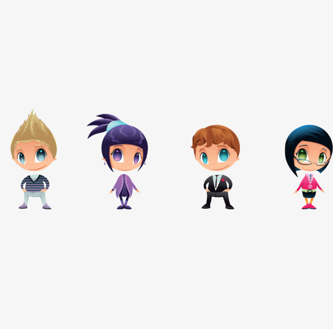 Four Different Eye Color Cartoon Boys And Girls, Eye, Cartoon, Boy PNG Image - Four Boys PNG