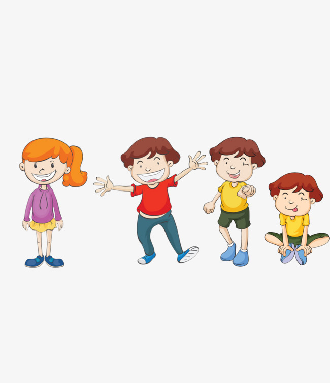 Smiling Boys And Girls Four Different, Smile, Cartoon, Boy PNG Image And  Clipart - Four Boys PNG