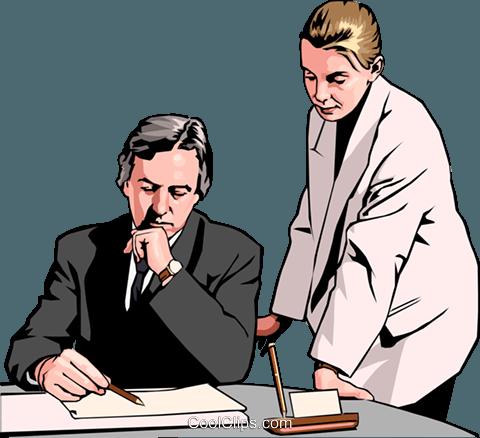 Business-Frau und Mann am Schreibtisch Vektor Clipart Bild - Frau Am Schreibtisch PNG