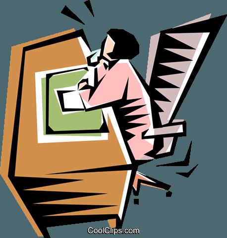 Cool Frau Am Schreibtisch Vektor Clipart Bild - Frau Am Schreibtisch PNG