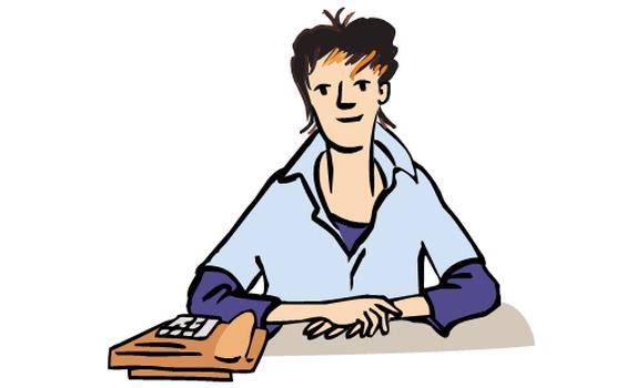 Eine Frau sitzt vor einem Schreibtisch. - Frau Am Schreibtisch PNG