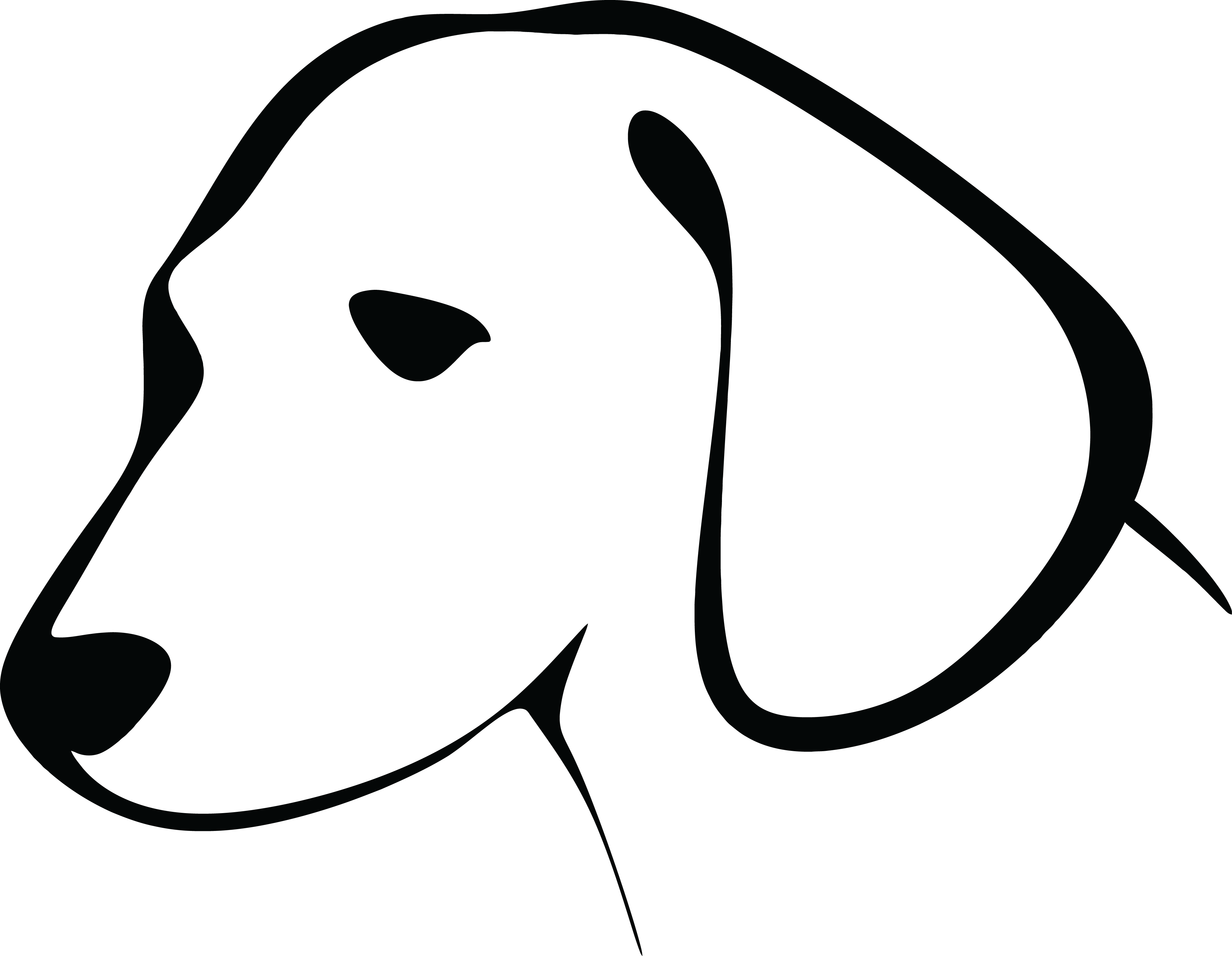 Free Clipart Of A Black and White Dog Head #0001826 . - Free Black And White PNG Of Dogs