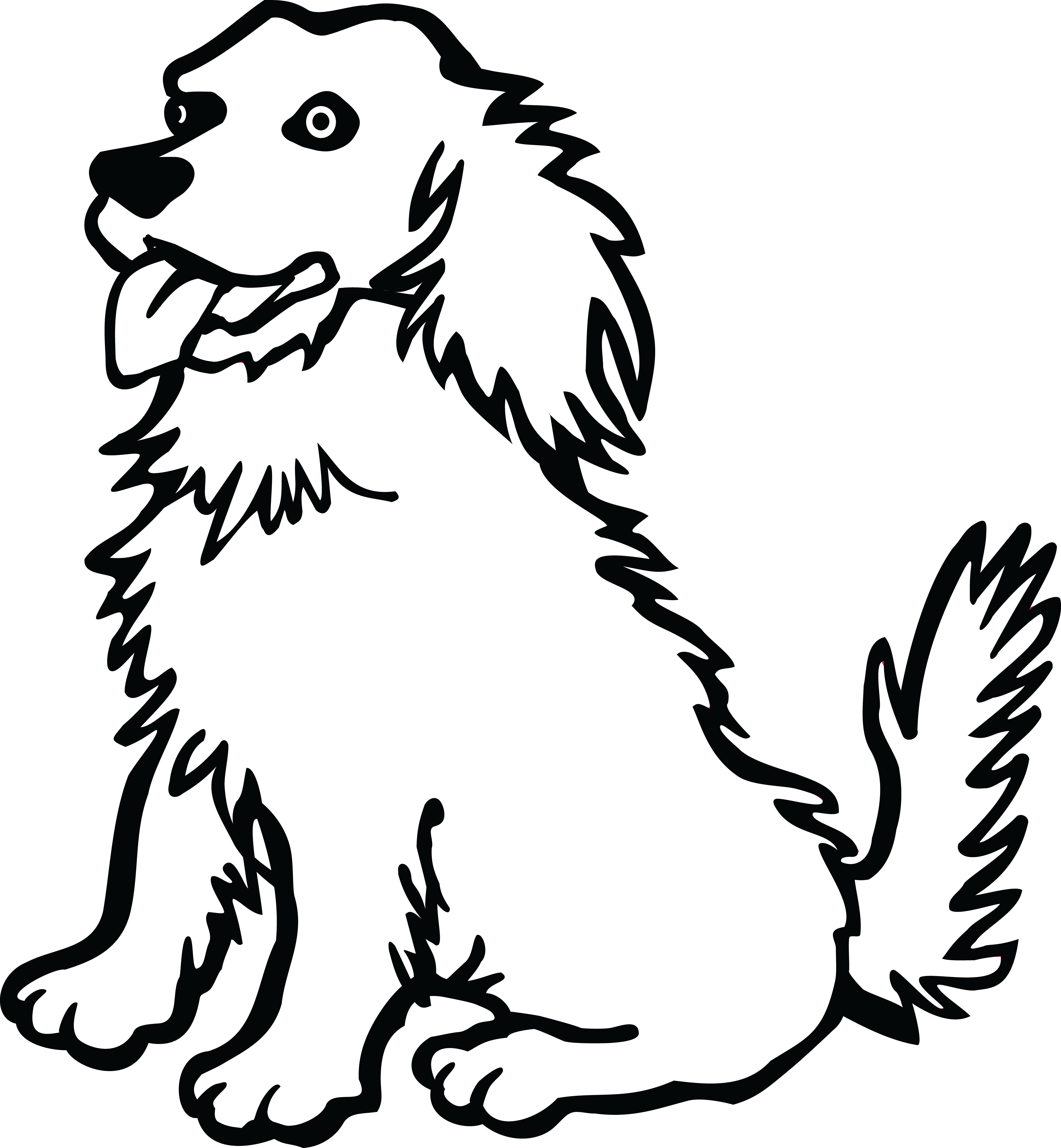 Free clipart of a dog 00011485 free black and white png of dogs