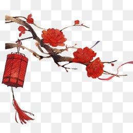 Chinese style,Joyous,Red Lantern,safflower, Chinese Style, Joyous, Red - Free Chinese New Year PNG HD