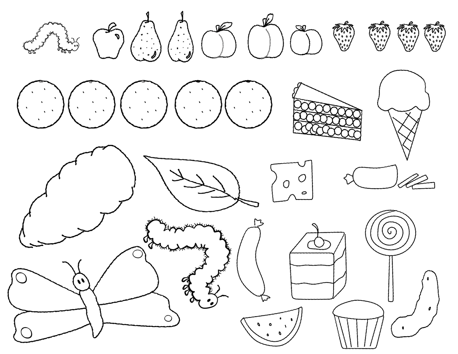 The Very Hungry Caterpillar activities: FREE coloring page of the items in  The Very Hungry Caterpillar story. - Free Eric Carle PNG