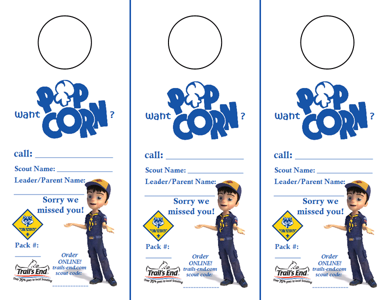 FREE Cub Scout PopCorn Door Hangers! - Free PNG Cub Scouts