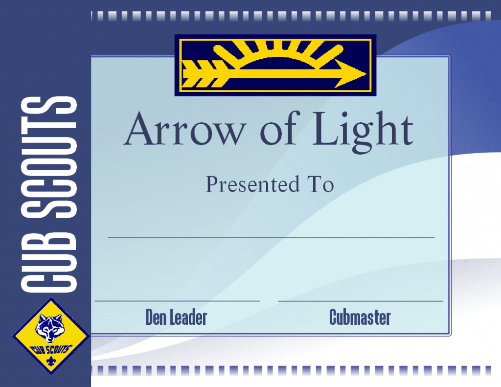 Free Printable Arrow of Light Certificate Template. Cub Scouts PlusPng.com  - Free PNG Cub Scouts