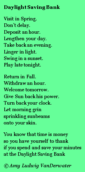 A poem for Daylight Saving Time from The Poem Farm, Amy Ludwig  VanDerwateru0027s ad- - Free PNG Daylight Savings Time