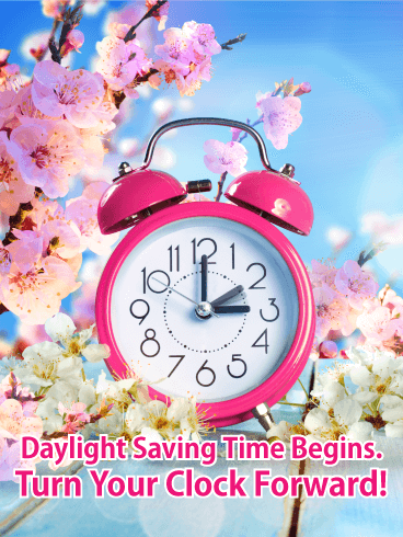 Cherry Blossom Daylight Saving Time Card - Free PNG Daylight Savings Time