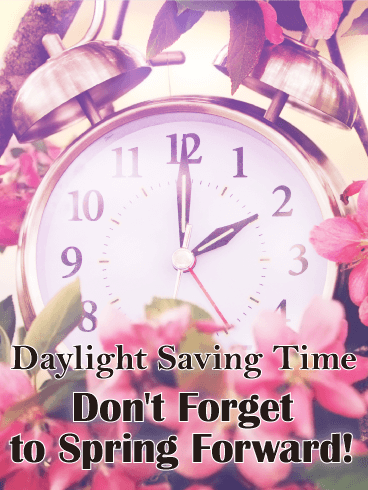 Spring Flower Daylight Saving Time Card - Free PNG Daylight Savings Time