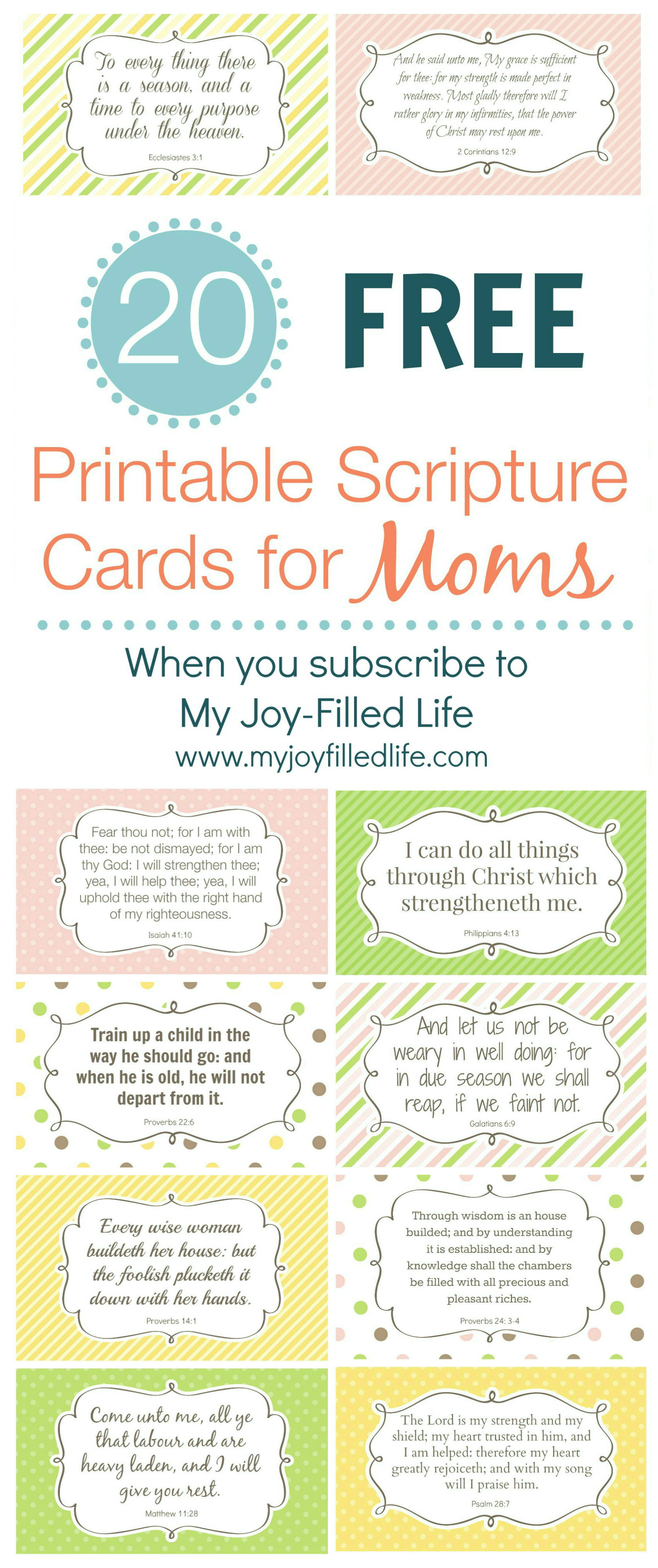 Encouragement for Moms - FREE Printable Scripture Cards - My Joy-Filled Life - Free PNG Encouragement