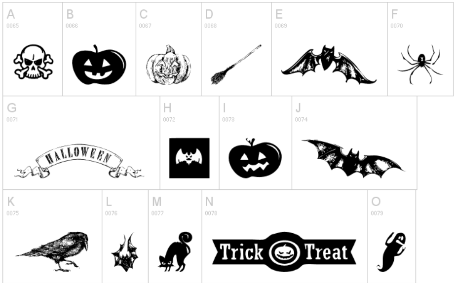 This set of free Halloween icon font has simple black character icons, so  they will be a great idea for design logos, banners or decorating your site. - Free PNG Fonts