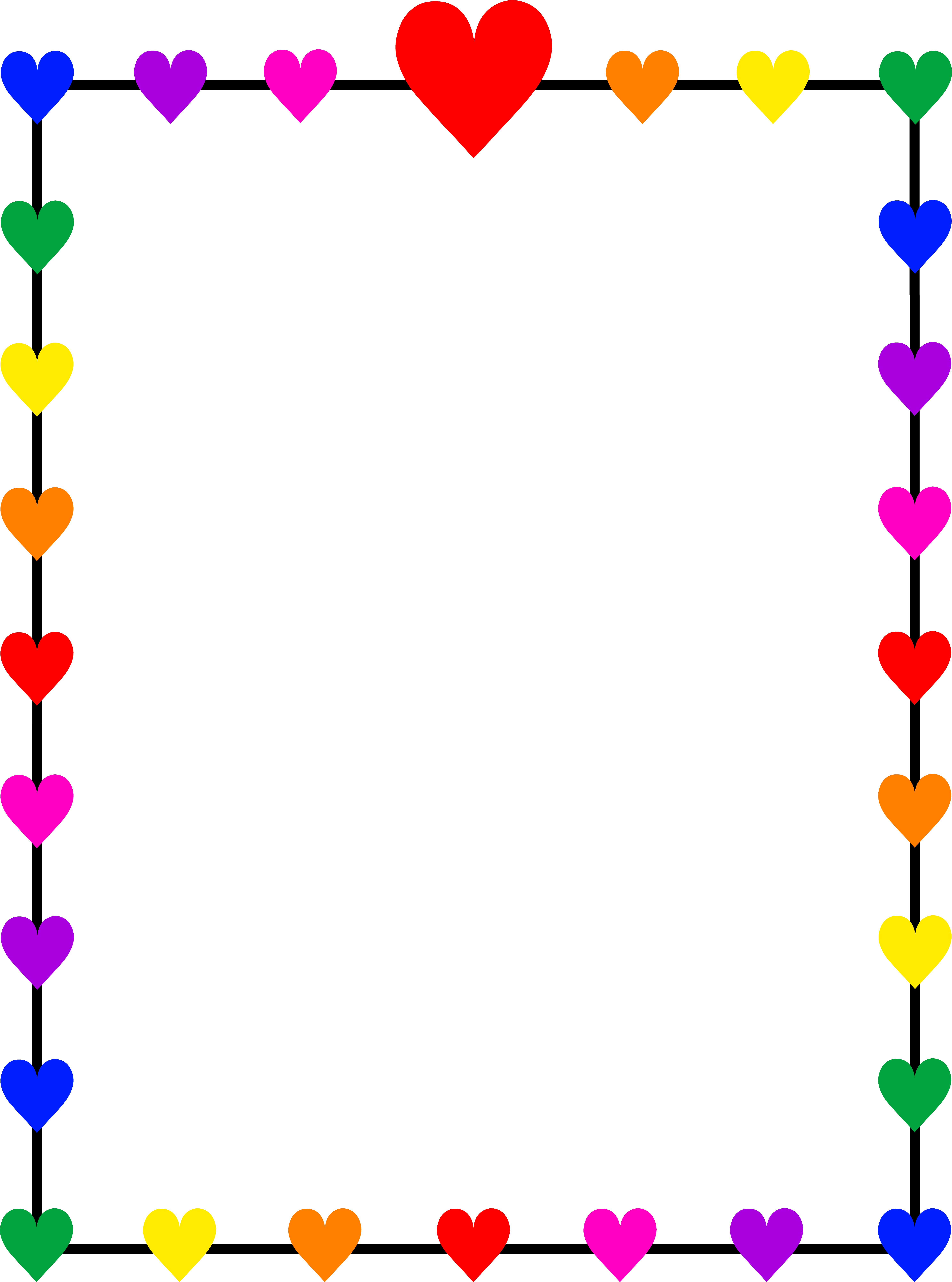 borders and frames clip art | Rainbow Hearts Border Frame - Free Clip Art - Free PNG Frames And Page Borders