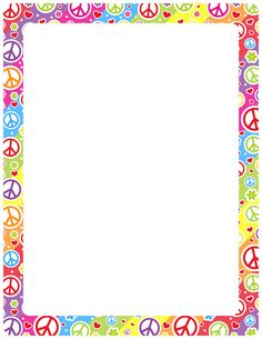 Printable peace sign border. Free GIF, JPG, PDF, and PNG downloads at - Free PNG Frames And Page Borders