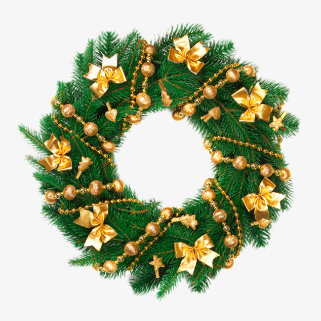 HD Christmas wreath, Golden, Bow, Christmas Tree Free PNG Image - Free PNG HD Christmas Wreath