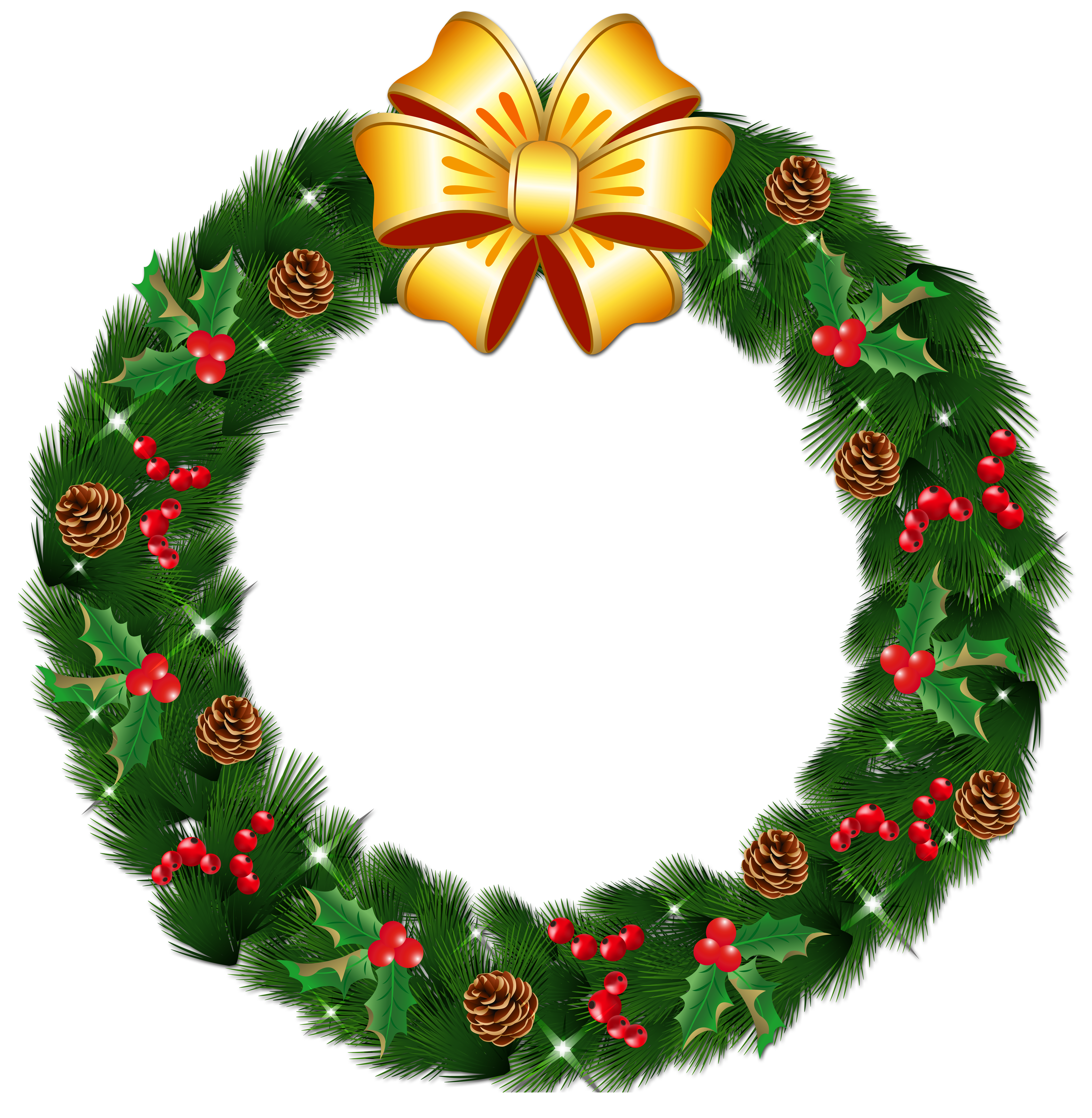 Transparent Christmas Pine Wreath with Gold Bow PNG Clipart - Free PNG HD Christmas Wreath