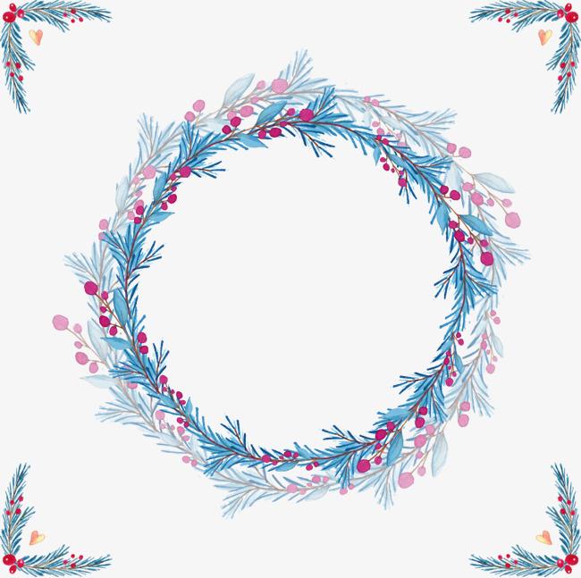 Vector watercolor wreath, Blu