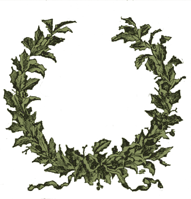 Vintage Clip Art - Holly Wreath Frame - The Graphics Fairy - Free PNG HD Christmas Wreath