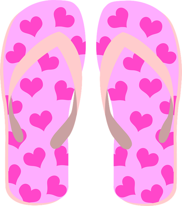 Flip Flops, Slippers, Beach Shoes, Heart, Pink, Summer - Free PNG HD Flip Flops