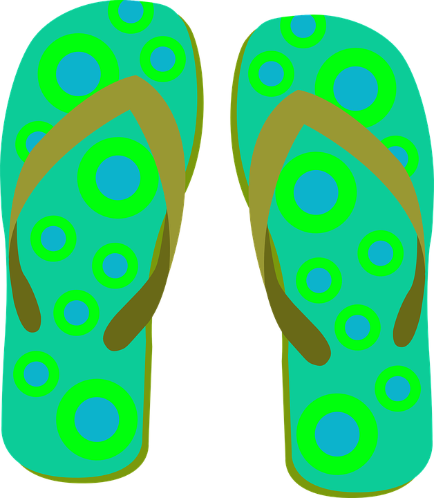 Flip Flops, Slippers, Points, Circle, Beach Shoes - Free PNG HD Flip Flops