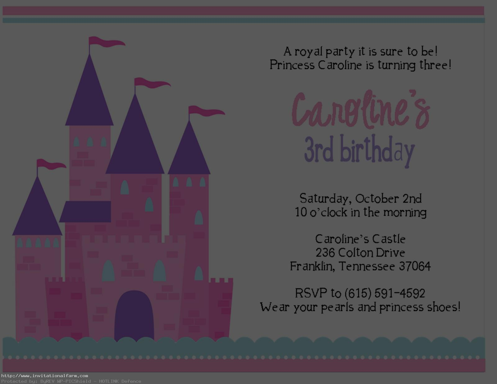 3rd Princess Birthday Invitations