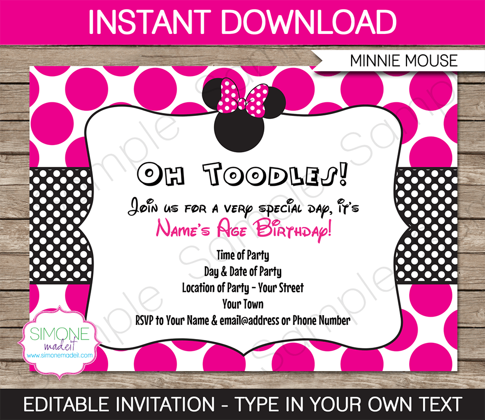 Free Printable Minnie Mouse Birthday Invitations PlusPng
