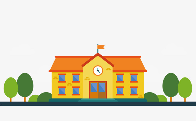 cartoon orange school vector, Vector Diagram, Orange House, Tree PNG and  Vector - Free PNG HD For School Use