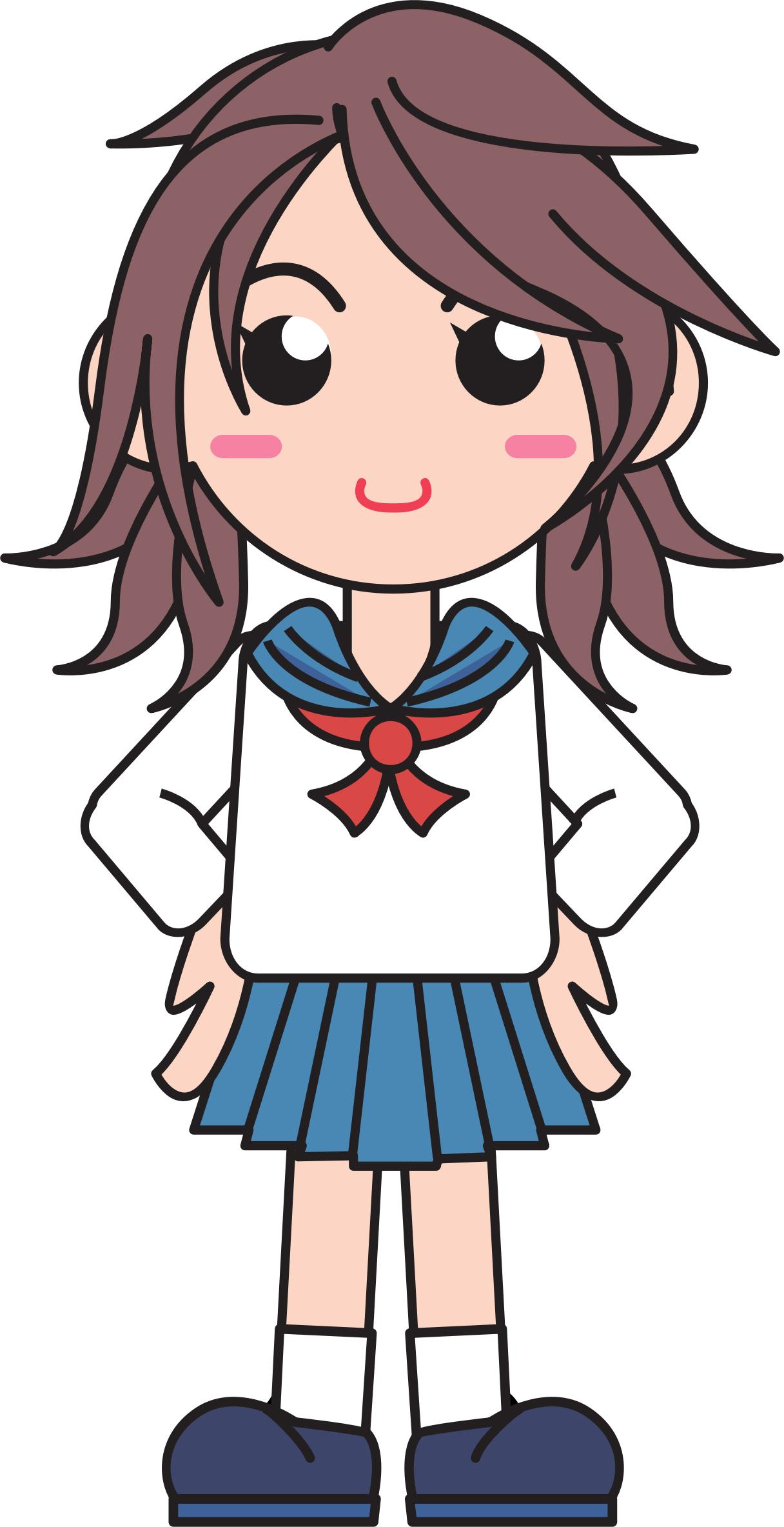 Japanese School Girl - Free PNG HD For School Use