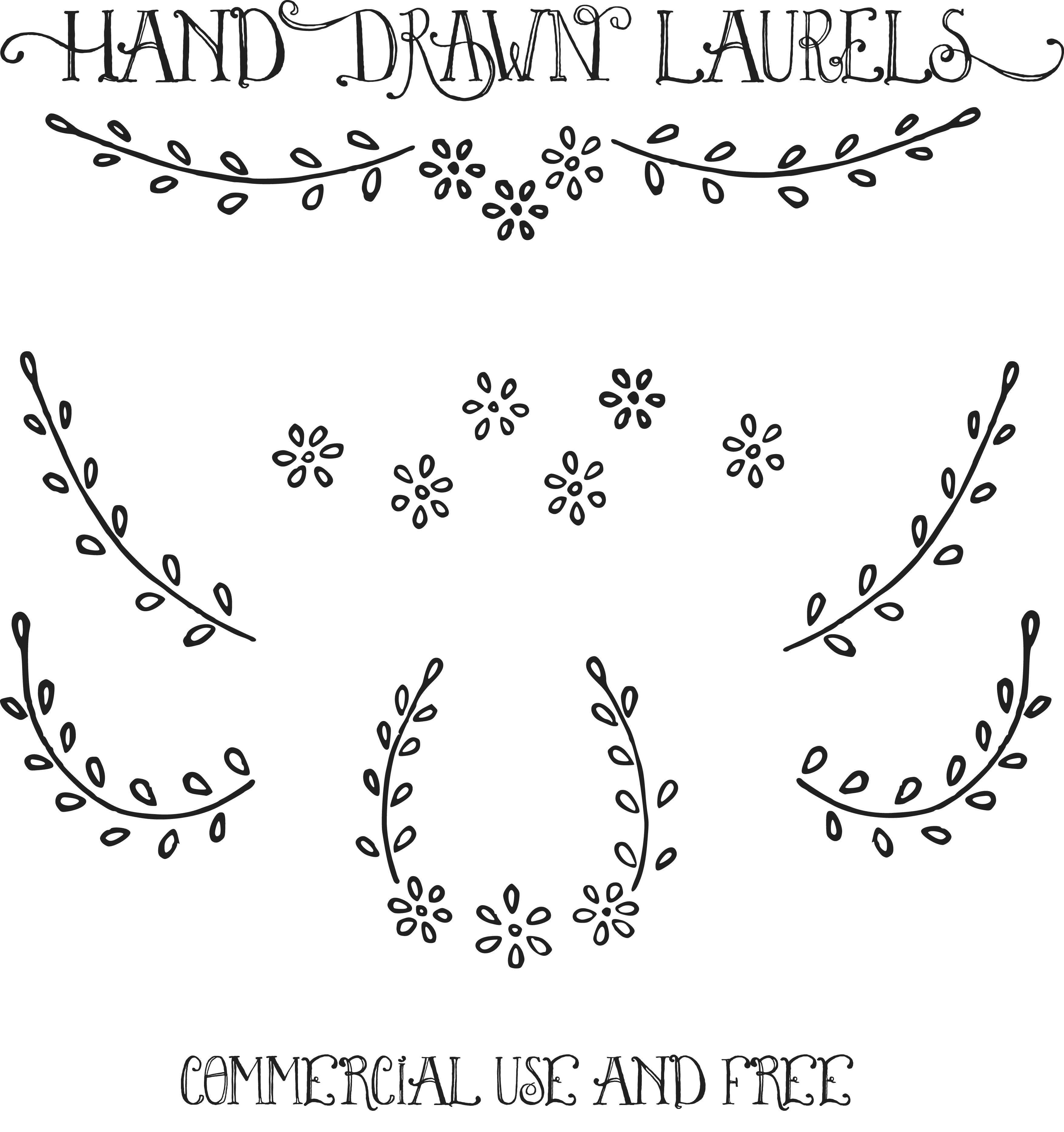 Download Royalty Free Images u2013 Hand Drawn Laurels Clip Art u0026 Vectors - Free PNG HD Images For Commercial Use