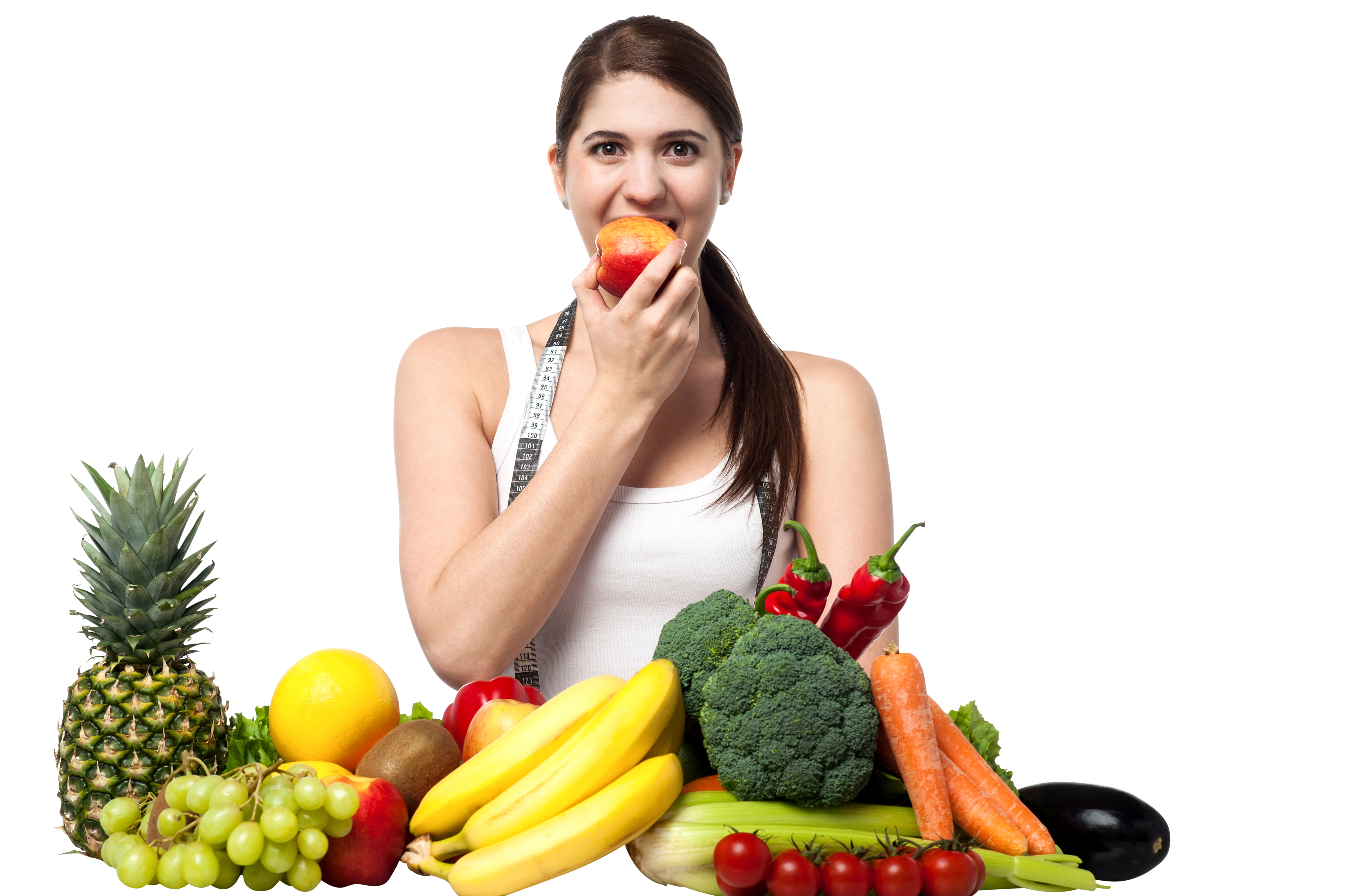 Girl With Fruits Free Commercial Use PNG Images - PNG Eating Food - Free PNG HD Images For Commercial Use