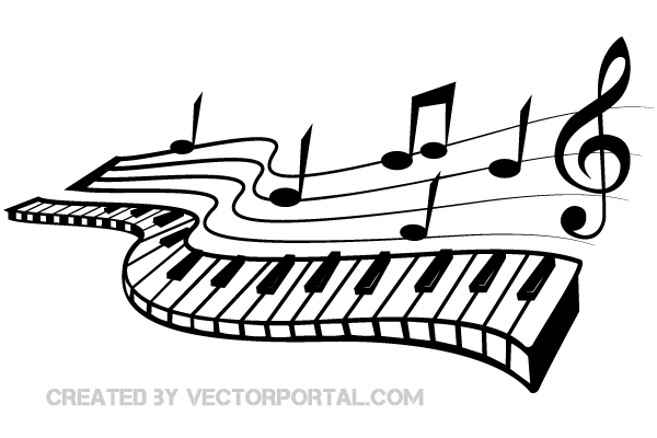 Keyboard and Music Notes Vector Image | 123Freevectors - Free PNG HD Of Music Notes