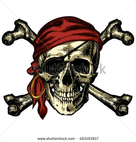Pirate Skull And Crossbones Bandana And An Earring On A Blank Background - Free PNG Pirate Skull